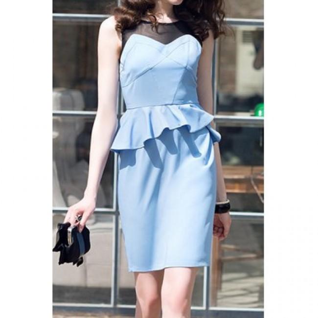 Vintage Scoop Neck Sleeveless Voile Splicing Flounce Dress For Women