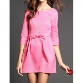 Vintage Scoop Neck Solid Color Bowknot Backless Dress For Women