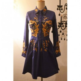 Vintage Shirt Collar Embroidered Beaded Dress For Women