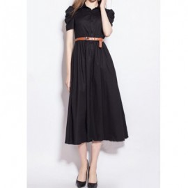 Vintage Shirt Collar Puff Sleeve Solid Color Women's Dress
