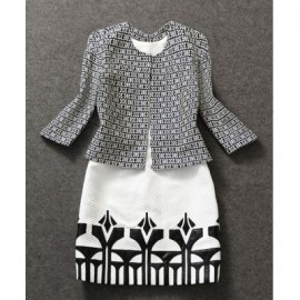 Vintage Sleeveless Dress and Jewel Neck 3/4 Sleeves Jacket Suit For Women
