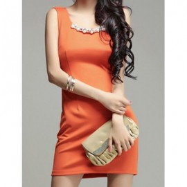 Vintage Solid Color Beaded Chiffon Splicing Sleeveless Dress For Women