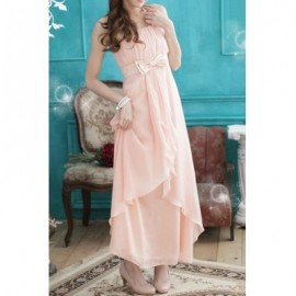 Vintage Spaghetti Strap Solid Color Bowknot Asymmetric Long Prom Dress For Women