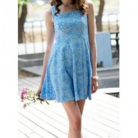 Vintage Square Neck Jacquard Sleeveless Dress For Women