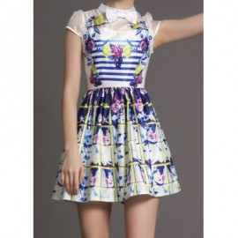 Vintage Stand Collar Bowknot Print Short Sleeves Dress For Women