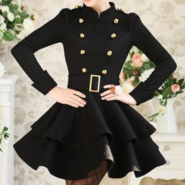 Vintage Stand Collar Long Sleeves Double Breasted Flounce Dress For Women