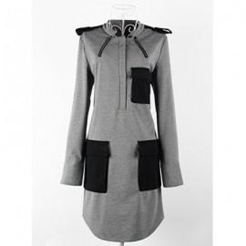 Vintage Stand Collar Long Sleeves Pocket Splicing Epaulet Dress For Women