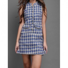 Vintage Stand Collar Plaid Single Breasted Sleeveless Woolen Dress For Women