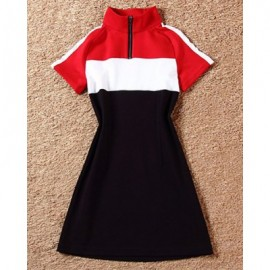 Vintage Stand Collar Short Sleeves Color Splicing Dress For Women