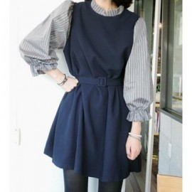 Vintage Stand-Up Collar 3/4 Sleeve Spliced Loose-Fitting Women's Dress