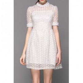 Vintage Stand-Up Collar Half Sleeve Beaded Flower Pattern Women's Dress