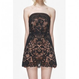 Vintage Strapless Sleeveless Lace Splicing Dress For Women