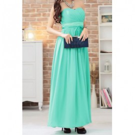 Vintage Strapless Solid Color Pleated Prom Long Dress For Women