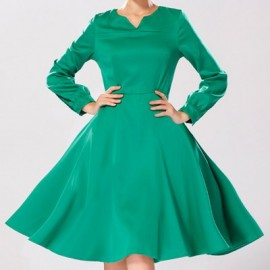 Vintage Style V-Neck Solid Color Lace-Up Long Sleeve Women's Dress