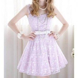 Vintage Sweetheart Neck Sleeveless Lace Splicing Dress For Women