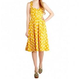 Vintage Sweetheart Neck Sleeveless Polka Dot Dress For Women
