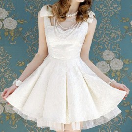 Vintage Sweetheart Neck Sleeveless Voile Splicing Bowknots Dress For Women