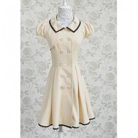 Vintage Turn-Down Collar Short Sleeves Double Breasted Lace Splicing Dress For Women