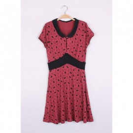 Vintage Cute Bunny Print Narrow Waist Short Sleeve Women's Summer Dress