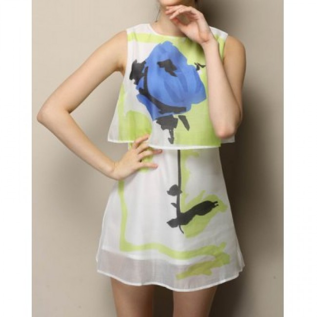 Vintage Faux Twinset Jewel Neck Sleeveless Floral Print Chiffon Dress For Women