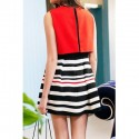 Vintage Faux Twinset Round Neck Striped Splicing Sleeveless Dress For Women