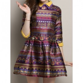 Vintage Flat Collar 3/4 Sleeve Color Block Printed Women's Dress