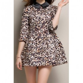 Vintage Flat Collar 3/4 Sleeve Leopard Print Women's Dress