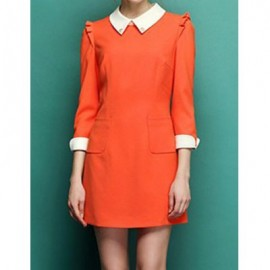 Vintage Flat Collar 3/4 Sleeves Color Splicing Flounce Pocket Dress For Women