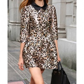 Vintage Flat Collar 3/4 Sleeves Leopard Print Dress For Women