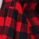 Vintage Flat Collar 3/4 Sleeves Plaid Dress For Women