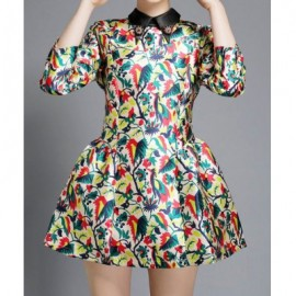 Vintage Flat Collar 3/4 Sleeves Print Ball Gown Dress For Women