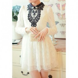 Vintage Flat Collar Block Color Long Sleeve Beaded Lace Dress For Women