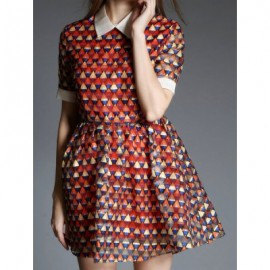 Vintage Flat Collar Half Sleeve Geometric Pattern Women's Dress