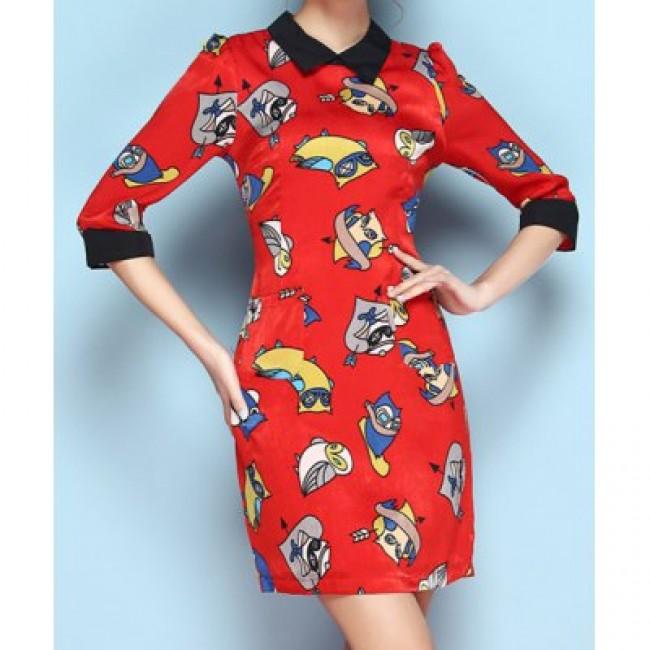 Vintage Flat Collar Half Sleeves Print Dress For Women