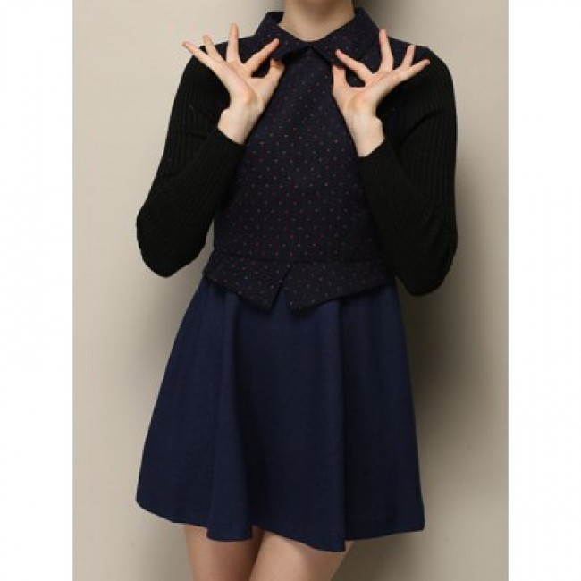 Vintage Flat Collar Knitting Sleeves Polka Dot Dress For Women