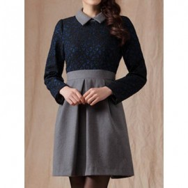 Vintage Flat Collar Long Sleeves Color Splicing Dress For Women