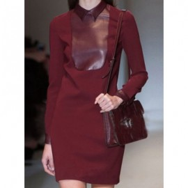 Vintage Flat Collar Long Sleeves Solid Color PU Leather Splicing Dress For Women