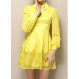 Vintage Flat Collar Long Sleeves Solid Color Voile Splicing Dress For Women