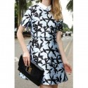Vintage Flat Collar Short Sleeve Printed Faux Twinset Women's Dress