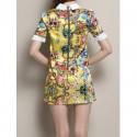 Vintage Flat Collar Short Sleeve Printed Spliced Women's Dress