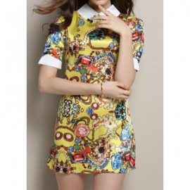 Vintage Flat Collar Short Sleeve Printed Spliced Women's Dress