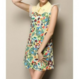 Vintage Flat Collar Short Sleeves Print Beaded Dress For Women
