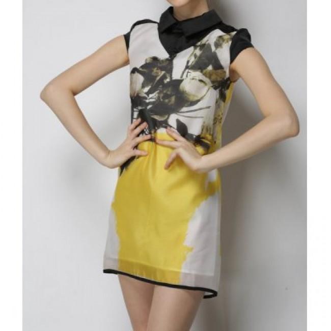 Vintage Flat Collar Short Sleeves Print Zippered Dress For Women