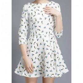 Vintage Jewel Neck 3/4 Sleeves Bird Print Dress For Women