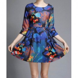 Vintage Jewel Neck 3/4 Sleeves Print Ball Gown Dress For Women