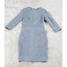Vintage Jewel Neck 3/4 Sleeves Solid Color Embroidered Dress For Women