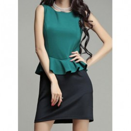 Vintage Jewel Neck Color Splicing Flounce Sleeveless Dress For Women