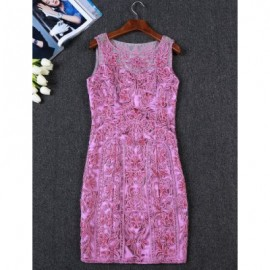 Vintage Jewel Neck Embroidered Sleeveless Dress For Women