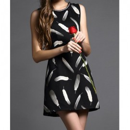 Vintage Jewel Neck Feather Printed Sleeveless Beading Dress For Women