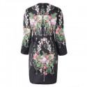 Vintage Jewel Neck Floral Print Long Sleeve Women's Dress